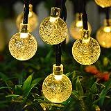 LED Solar Lichterkette Kristall Kugeln 6.35 Meter 30 LEDs, Jiguoor Außerlichterkette Deko für Garten, Bäume, Terrasse, Weihnachten, Hochzeiten, Partys, Innen und außen
