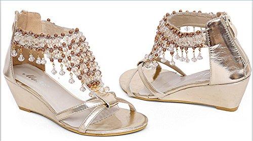 Fortuning's JDS nappe di perline Moda sandali con zeppa di progettazione Oro