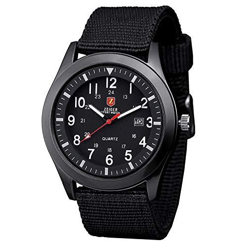 Reloj de Nylon para Hombre con Correa Negra muñeca de Fluorescencia Unisex Manos con Fecha de Cuarzo y cardán Negro KW495 (Negro)