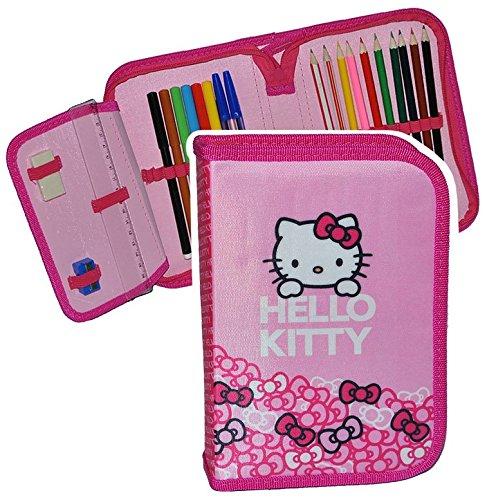 füllte Federmappe Hello Kitty - für Kinder Mädchen / Schiefermappe - Katzen rosa Schüleretui Schlampermappe Schule Vorschule ()