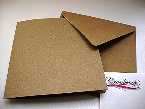 Papier kraft recyclé marron carré (15,2x 15,2cm) Cartes & enveloppes par Cranberry Card Company marron