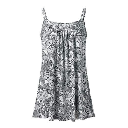 iYmitz Damen Sommer Druck Shirt Sleeveless Weste Behälter beiläufige Spitzen Bluse Top Oberteil T-Shirt Tees(Grau-X2,4XL) (Herren-x2-unterwäsche)