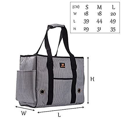 GossipBoy Stripe Pet Airline Approved Outdoor Travel Carrier Portable Dog Cat Handbag Oxford Kitten Puppy Tote Bag with… 2