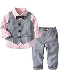 [Bekleidungsset Junge Festlich] Kinder Hemd mit Fliege + Weste + Hose Kleinkinder Gentleman Set Baby Taufe Anzug
