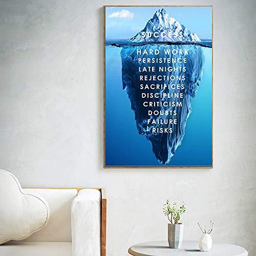 jiushice Eisberg des Erfolgs Leinwand Poster Landschaft Motivations Leinwand Wandkunst Zitat Nordic Print Wandbild Inspirational Modern 60x90cm