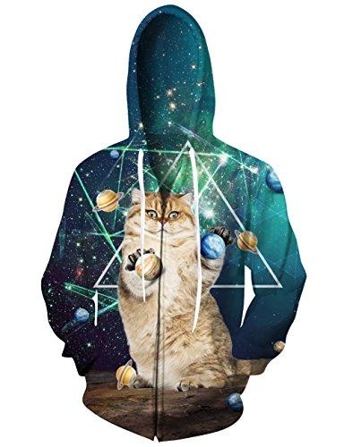 chicolife Lustige Hoodies von Zip Design 3D Printed Katzen Graphic Sweatshirt mit Seitentaschen XX-Large Graphic Full Zip Hoodie
