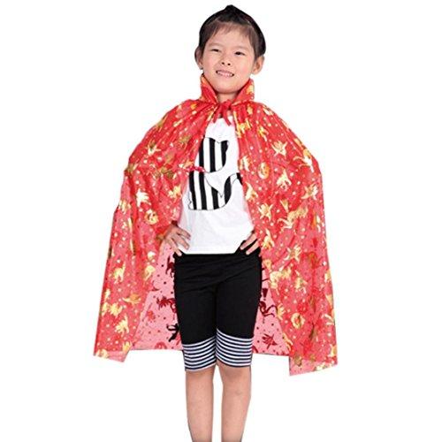(Rosennie Halloween Costume Golden Pumpkin Shawl Kinder Halloween Kostüm Zauberer Kostüm Set Unisex Halloween Star Wars Umhang mit Kragen Jedi Mantel Kapuzenumhang Karneval (Rot, Free))