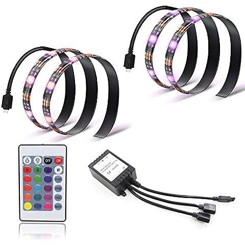 Xcellent Global Iluminación Ambiental para Televisión HDTV 5050 Alimentada por USB 5V Iluminación Trasera con Control Remoto Tiras de Luces Flexibles con LEDs Multicolor RGB,