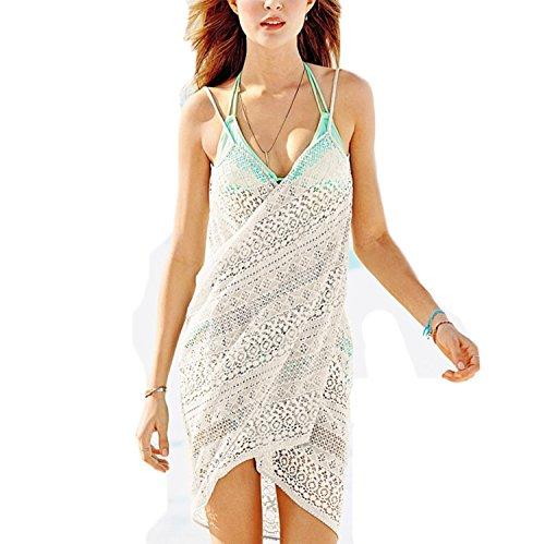 One-shoulder Kimono Top (Damen Elegant Pareos Sunscreen Strandkleider Tiefe V -Ausschnitt Trägerkleid Wickelkleid Beachwer (One Size, Weiß))