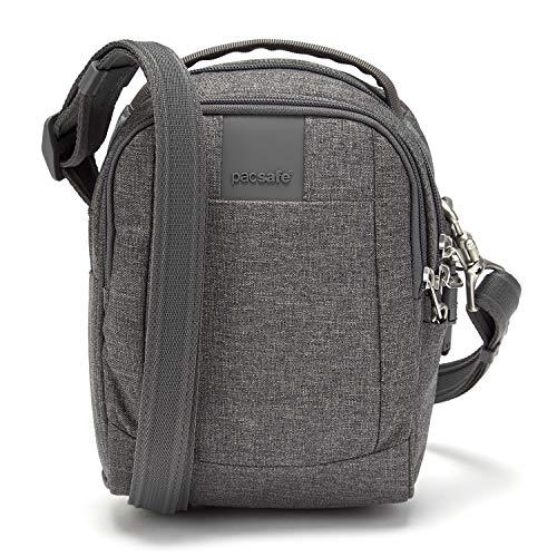 Pacsafe Metrosafe LS100 Anti-Diebstahl kleine Nylon Umhängetasche für Damen, Schultertasche mit Diebstahlschutz, Tasche mit Sicherheits-Features - 3 L Uni, Grau Meliert/Dark Tweed -