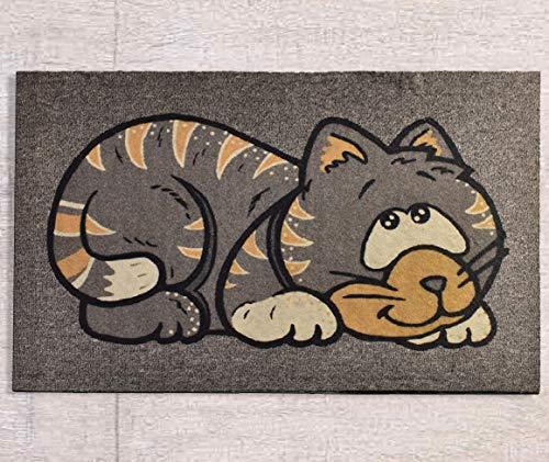 Homelante Fußmatte mit Katzen-Motiv, 45 x 70 cm, rutschfest