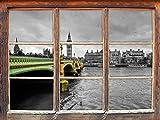 Skyline von London mit Themse und Big Ben schwarz/weiß, Fenster 3D-Wandsticker Format: 62x42cm Wanddekoration 3D-Wandaufkleber Wandtattoo