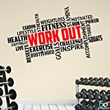 "Best Motivational Wall Decals - Decalcomania con la scritta ""Workout"" Decalcomania da parete Review"