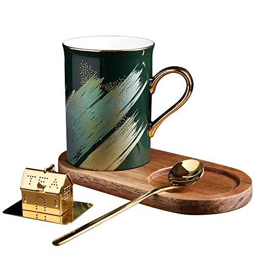 Kreative Keramik Tasse Paar Becher mit Deckel Löffel Kaffeetasse mit Tee Leck Geschenk Tasse Grün 300ml