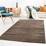 Taracarpet Kurzflor-Designer Uni Teppich extra weich fürs Wohnzimmer, Schlafzimmer, Esszimmer oder Kinderzimmer Gala braun 120x170 cm