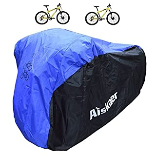 Aiskaer 2 Bikes Cover, Heavy Duty 210D Oxford Fabric, Waterproof Bicycle Covers Rain Sun UV Dust Wind Proof,All Weather Protection for Mountain, 29er, Road, Cruiser, Electric & Hybrid Bikes