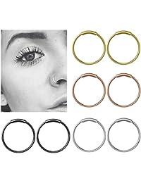 YHmall Bisagra de acero inoxidable Clicker Septum Piercing anillo de nariz Fake Hoop Lips Anillo de oído - 8 mm