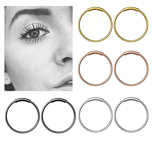 fake nose ring YHmall Edelstahl Scharnier Clicker Septum Piercing Nasenring Fake Hoop Lippen Ohr Ring - 8mm