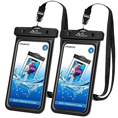 MoKo Schwimmende wasserdichte Hülle, 2 Stück Universal Handy Trockentasche TPU Handyhülle Ersatz für iPhone X/8 Plus/7/6s/6 Plus, Samsung Galaxy S10/S10 Plus/ S10e/Note 8/S9+/S9/S8+ - Schwarz+Schwarz