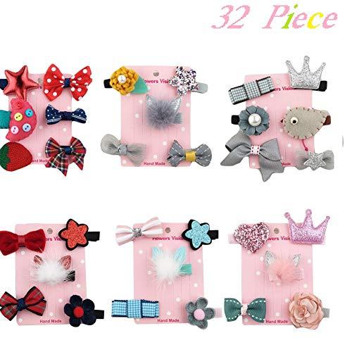 32 stücke Mädchen Bowknot Blume Haarspange für Kleine Mädchen, Prinzessin Baby Boutique Kleinkinder Haargummis Band Bögen Haarnadel