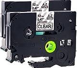 2x Schriftbandkassette für Brother TZe-131 schwarz auf transparent 12mm breit x 8m lang laminiert geeignet für Brother P-Touch 1000W 1010 1090 1830VP 2030VP 2100VP 2430PC 2470 2730VP 7100VP 7600VP H100R H105WB H150WB H300 D200VP D400 D600VP P750W und andere P-Touch Geräte kompatibel zu TZE-131