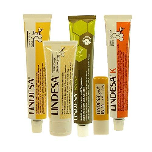 Lindesa Probierpaket Vertrieb: Naturprodukte-MV®: 1x gelb (50ml), 1x K (50ml), 1x parfümfrei(75ml), 1x NATUR (50ml), Lippenschutz und Pflegestift (4,8g) Vorteilspack Vorteils-Set Set Paket