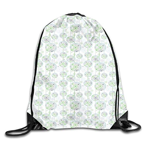 EELKKO Drawstring Backpack Gym Bags Storage Backpack, Blowball Pattern with Circle and Lines Abstract Nature Illustration,Deluxe Bundle Backpack Outdoor Sports Portable Daypack -