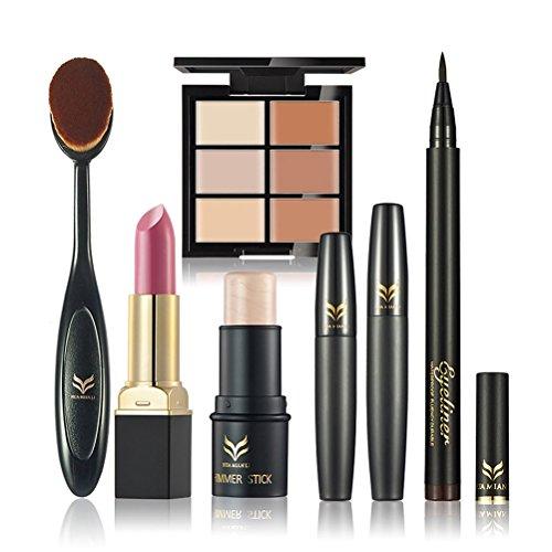 FRCOLOR Ensemble de maquillage, trousse de maquillage cosmétique Comprend crayon à lèvres anti-cernes anti-cernes Stylo mascara surligneur Shimmer Stick Foundation, 6 pièces