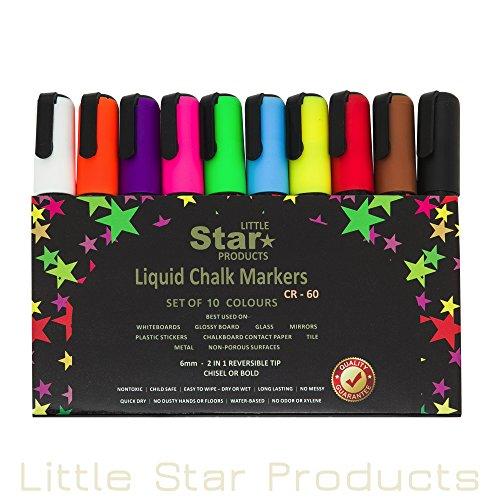 Kleine Sterne Kreide Stifte, flüssig Kreide Marker set für nicht porös Tafeln Kinder Kunst... 8g Neonfarben malen Marker Pen 6mm Fett/Meißel Tipp nass löschbare 10er Pack