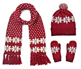 Vimeet Damen Warme Winter Mütze Schal Handschuh Set Wintermütze Gestrickt Beanie Mütze Wollmütze Strickmütze Earflap Hut Kappe Schnee Hüte Skimütze Schneeflocke Rot