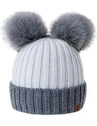 4c5fa9cffc84 MFAZ Morefaz Ltd Filles Chapeau D hiver Beanie Bonnet Fille Chapeaux De Ver  Enfants Avec