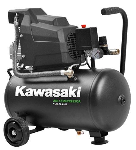 Kawasaki Kompressor, Luftkompressor Werkstatt, fahrbar, 1100W, 8 Bar, Induktionsmotor, 220V, 24L Tank, Ansaugleistung 165 l/min - Mit Kupplung Kompressor Ac