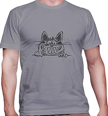 Hommes T-Shirt avec Crazy Grinning Cat Illustration imprimé. Col ras