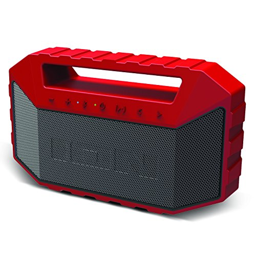 Ion Audio Plunge - Altavoz Bluetooth portátil resistente al agua y al polvo con batería recargable, micrófono y control de asistente virtual, color rojo