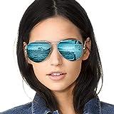 SODQW Gafas de Sol Aviador Polarizadas Mujer Espejo Marca Clásico Metal Marco 100% UVA/UVB Protección (Marco de Plata Lente Azul (Espejo))