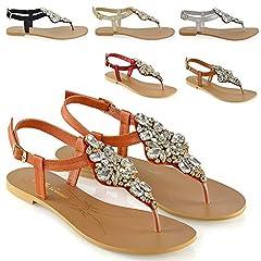 4eb74434bf2e Womens flat diamante toe post slingback sparkly ladies holiday ...
