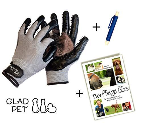 GLADPET Fellpflege - Set/Fellpflegehandschuh Paar, Zeckenzange, Tierpflege - E-Book/Praktischer Haustier Pflegehandschuh für Hunde Katzen Pferde
