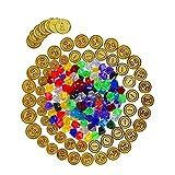 HONGXIN-SHOP 50 Piezas de Plastico Monedas de Oro Piratas y 100 Piezas de Piedras Preciosas Piratas Conjunto de Juguete Joya Moneda de Oro para Niños Fiesta Pirata Infantil Cumpleaños Regalo