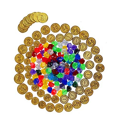 Piratenschatz Spielzeugs Pirat Kunststoff Goldmünzen 50 Stück Piraten Edelsteine 100 Stück Aktivität Spiel Set für Hochzeit Tisch Vasen Deko Kindergeburtstag Edelsteine Schatz Piratenparty