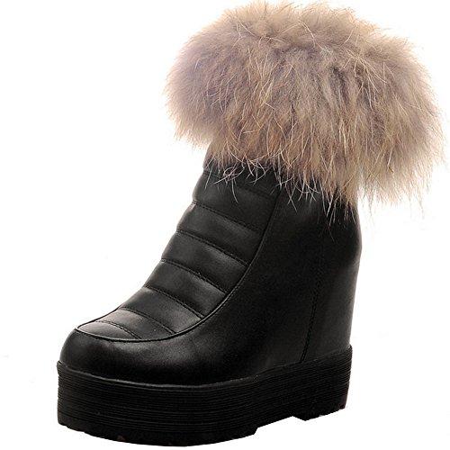 TAOFFEN Damen Herbst Winter Kurze Stiefel Reißverschluss Snow Boots Schwarz