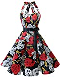 bridesmay 1950er Retro Rockabilly Neckholder Cocktail Abendkleid Petticoat Faltenrock Black Skull M