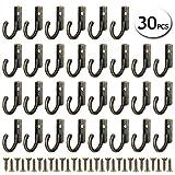 30 Stück Kleine Vintage Bronze Haken Wandmontage Single Key Robe Haken Haken Haken Haken mit Schrauben für Tür Küche Büro Dekoration