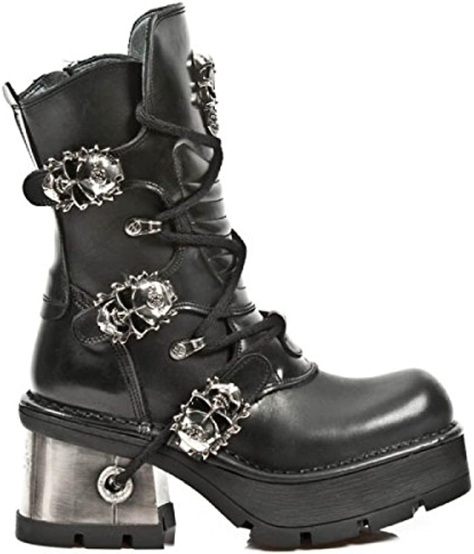 New Rock Boots M.1044-C2 Gothic Hardrock Punk Damen Stiefel Schwarz