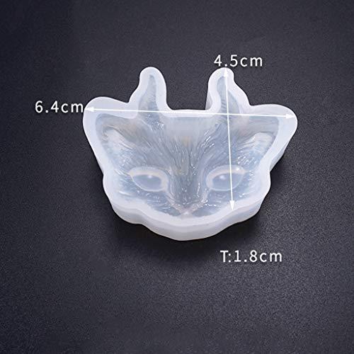 osfanersty Crystal Epoxy Schimmel DIY Schmuck DREI Augen mit Winkel Cat Head Half-Stereo Bright Mirror Silikonform