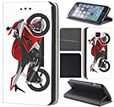 CoverFix Premium Hülle für Samsung Galaxy A5 (Modell 2017) A520 Flip Cover Schutzhülle Kunstleder Flip Case Motiv (1059 Motorrad Schwarz Rot Silber)