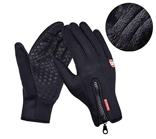 Aruny Winter Handschuhe Winddicht Thermische Für Männer Frauen Ideal für Sport Im Freien Laufen, Radfahren, Wandern, Fahren, Klettern Touchscreen Multifunktionale Handschuhe (Schwarz, M)