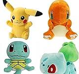 jouets en peluche Pokemon Pikachu, Bulbasaur, Squirtle, Charmander ensemble de 4