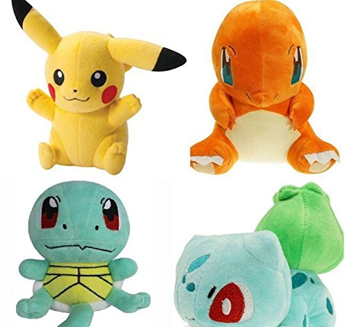 Pokemon plush toys Pikachu, Bulbasaur, Squirtle, Charmander set of 4