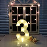 oamore LED Alphabet Licht Brief Dekorative Lampe Licht LED Weiß Beleuchtete Buchstaben und Zahlen für Geburtstag Hochz