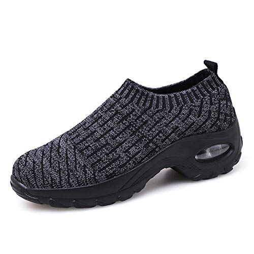 Sneakers Damen Sportschuhe Laufschuhe Bequem Turnschuhe Air Leichte Höhe Erhöhen Mesh Socks Slip On Outdoor Walking Schuhe Schwarz Grau Lila Rot Weiß 35-43 Schwarz 40